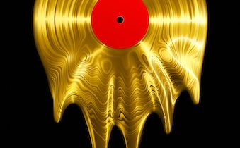 3D render of vinyl record melting