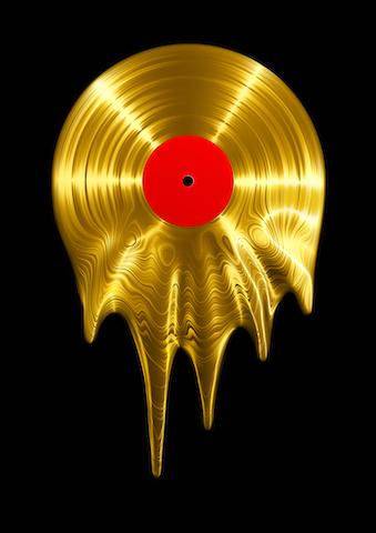 3D render of vinyl record melting